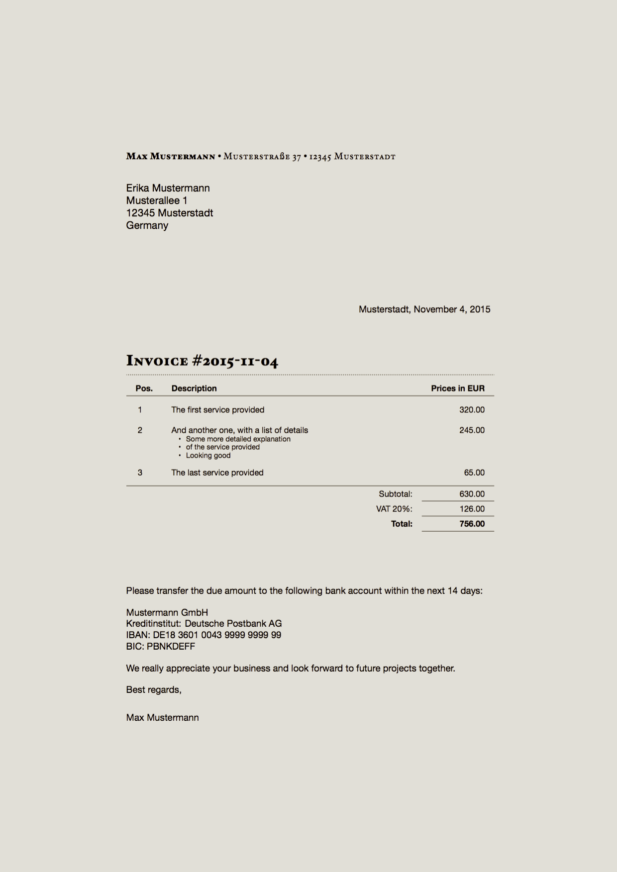 LaTeX Boilerplates Plaintext Document Production System - Plain invoice template